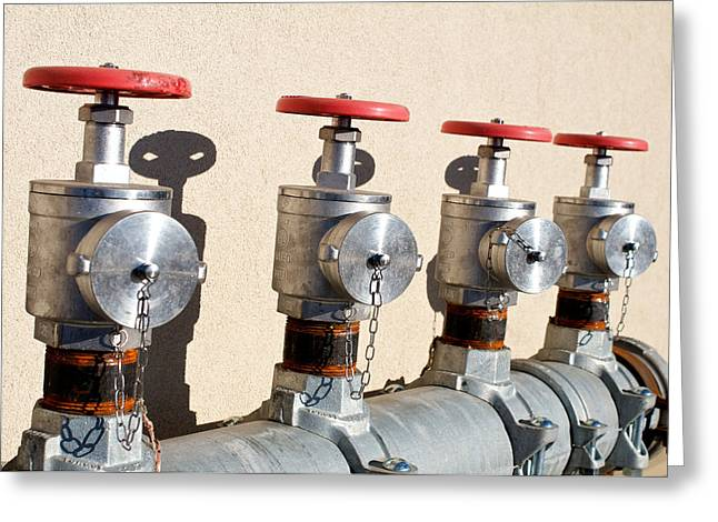 Four Emergency Water Valves Greeting Card by Trever Miller