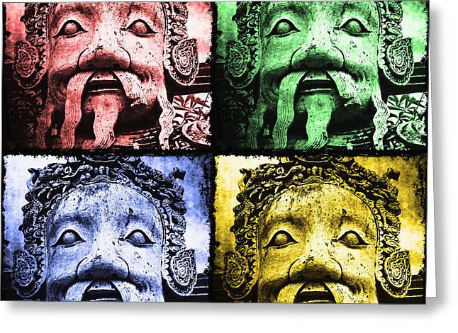 No Limits Greeting Cards - Four Faces of Buddha Greeting Card by Skip Nall
