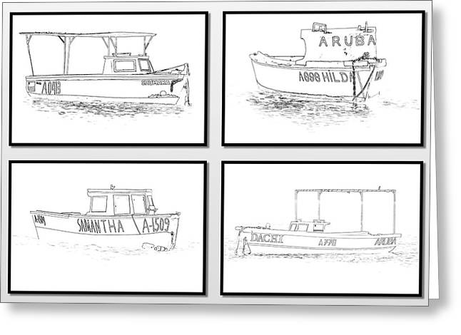 Ocean Photography Greeting Cards - Four Fishing Boats of Aruba Greeting Card by David Letts