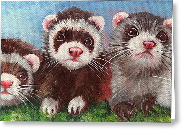 Ferrets Greeting Cards - Four Frolicking Ferrets Greeting Card by Ginger Jamerson