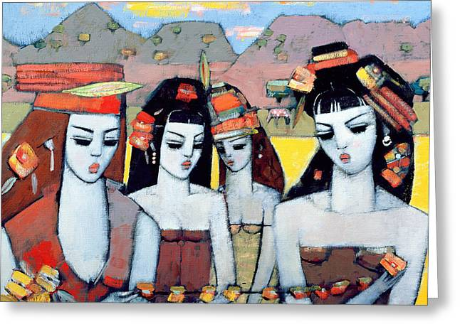 Villager Greeting Cards - Four From Ys, 2004 Oil On Canvas Board Greeting Card by Endre Roder