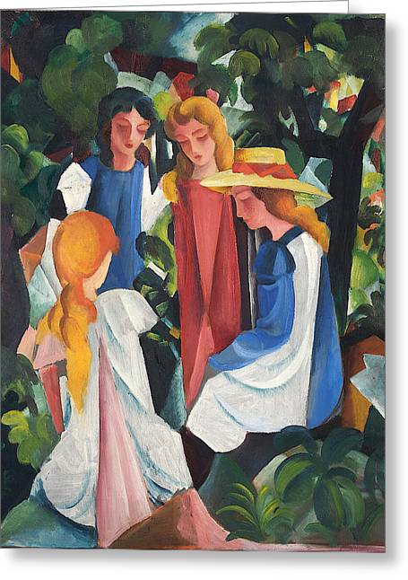Macke Greeting Cards - Four Girls Greeting Card by August Macke