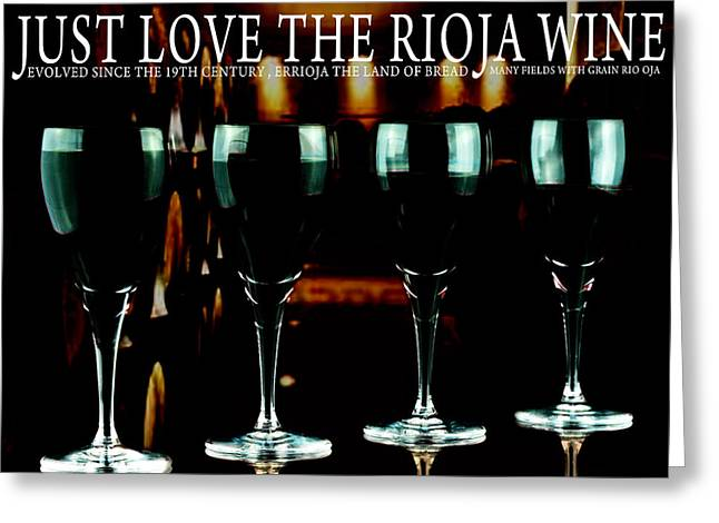 Evolved Greeting Cards - Four glasses of rioja wine Greeting Card by Toppart Sweden