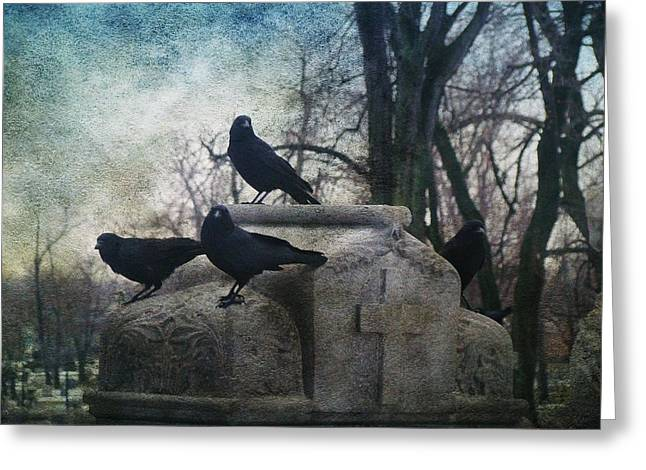 Crows On Tombstones Greeting Cards - Four Graveyard Crows Greeting Card by Gothicolors Donna Snyder