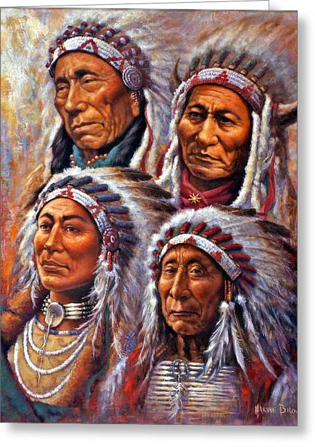 Chief Sitting Bull Greeting Cards - Four Great Lakota Leaders Greeting Card by Harvie Brown