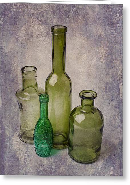Breakable Greeting Cards - Four Green Bottles Greeting Card by Garry Gay