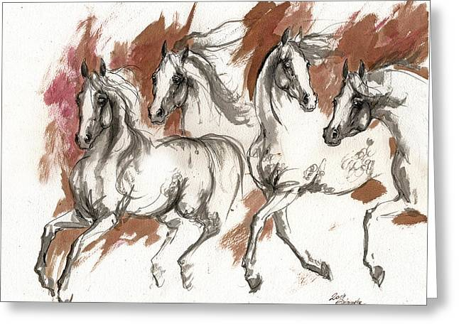 Wild Horses Drawings Greeting Cards - Four Grey Arabian Horses Ink Painting 2014 04 25 Greeting Card by Angel  Tarantella