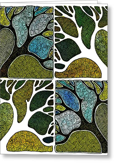 Hand Pulled Print Greeting Cards - Four Hand-Carved Trees Greeting Card by Marta Harvey