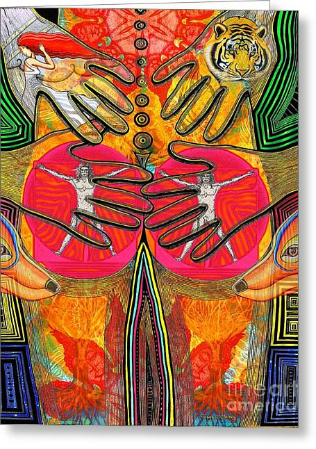 Pen And Ink Framed Prints Greeting Cards - Four Hands Greeting Card by Joseph J Stevens