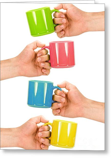 Boiling Herbs Greeting Cards - Four Hands With Colorful Cups Greeting Card by G J