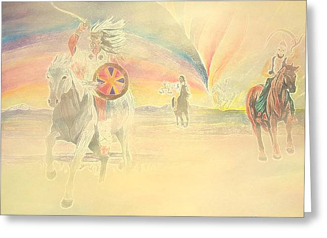 Biblical Pastels Greeting Cards - Four Horsemen Approaching Through Time Greeting Card by Anastasia  Ealy