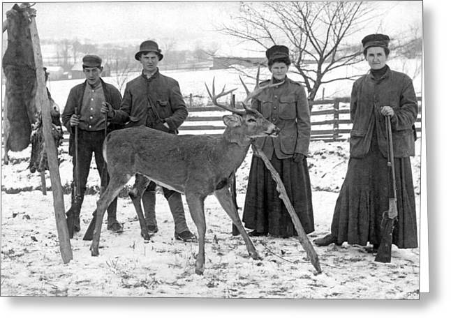 Four Hunters And Their Game. Greeting Card by Underwood Archives