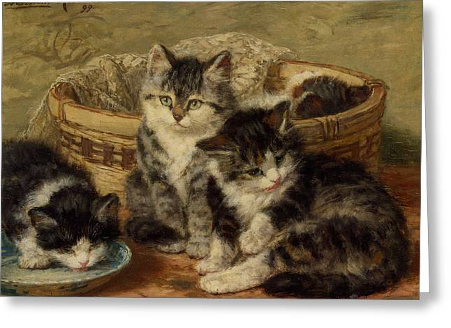 Henriette Greeting Cards - Four Kittens Greeting Card by Henriette Ronner Knip