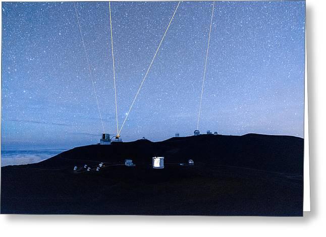 Blue Subaru Greeting Cards - Four Lasers Above Mauna Kea 2 Greeting Card by Jason Chu