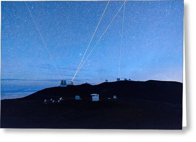 Blue Subaru Greeting Cards - Four Lasers Above Mauna Kea 4 Greeting Card by Jason Chu