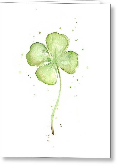 Illustration Greeting Cards - Four Leaf Clover Lucky Charm Greeting Card by Olga Shvartsur