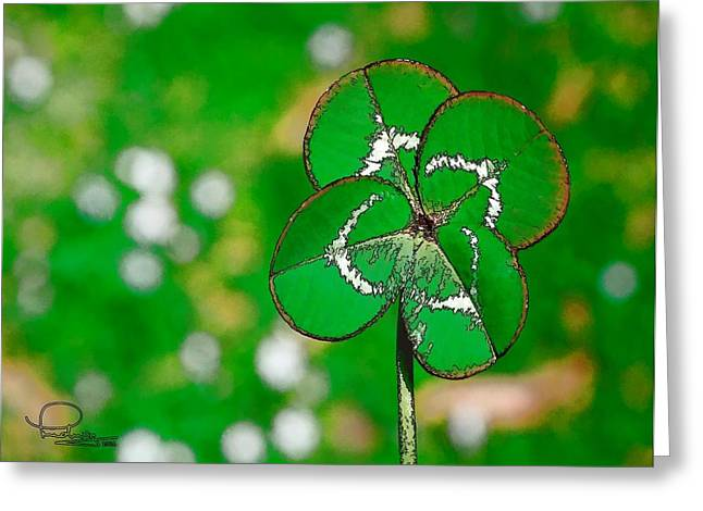 Cafe Art Greeting Cards - Four Leaf Clover Greeting Card by Ludwig Keck