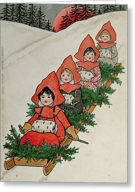 Sledge Photographs Greeting Cards - Four Little Girls On A Sledge Colour Lithograph Greeting Card by Florence Hardy