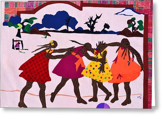 Dress Tapestries - Textiles Greeting Cards - Four Little Girls Greeting Card by Ruth Yvonne Ash