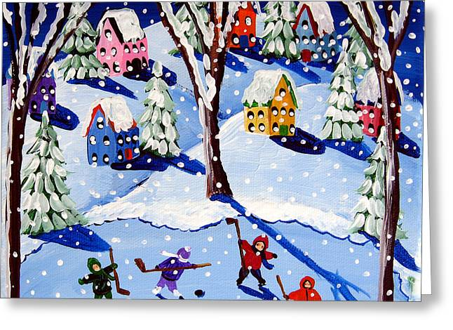 Hockey Paintings Greeting Cards - Four Little Hockey Players Greeting Card by Renie Britenbucher