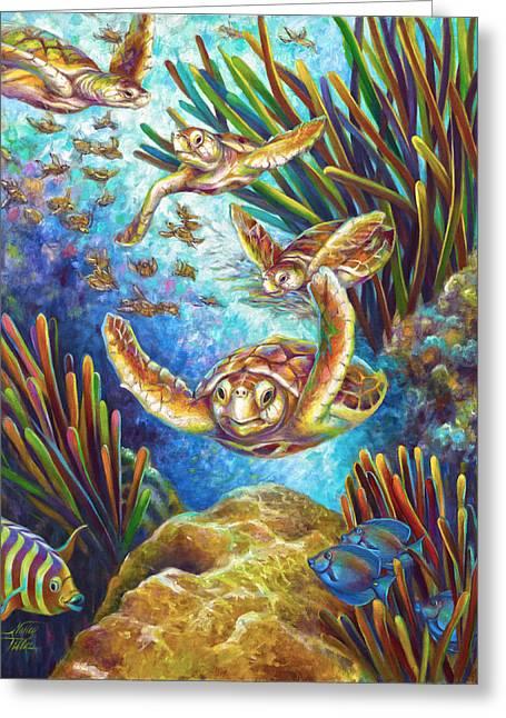 Brain Paintings Greeting Cards - Four Loggerhead Turtles Greeting Card by Nancy Tilles