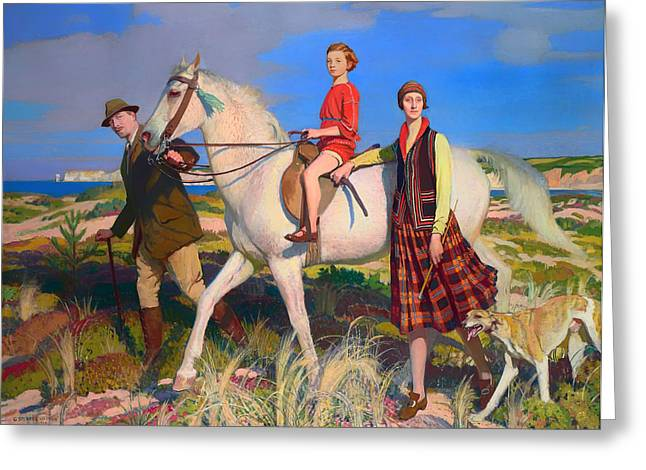 Family Walks Paintings Greeting Cards - Four Loves I Found Greeting Card by Watson