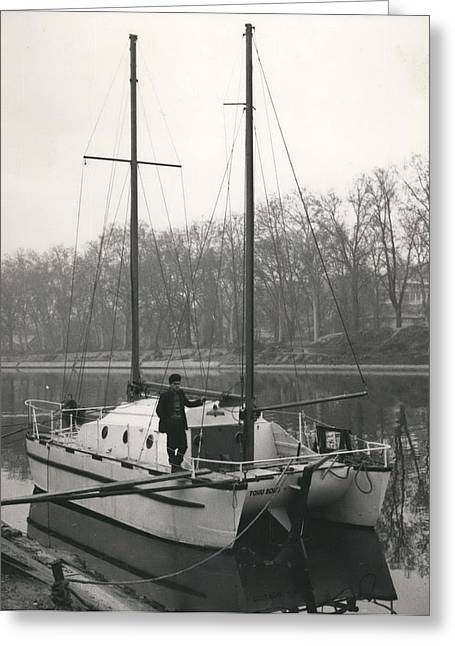 Retro Photography Greeting Cards - Four Men On A Boat Greeting Card by Retro Images Archive