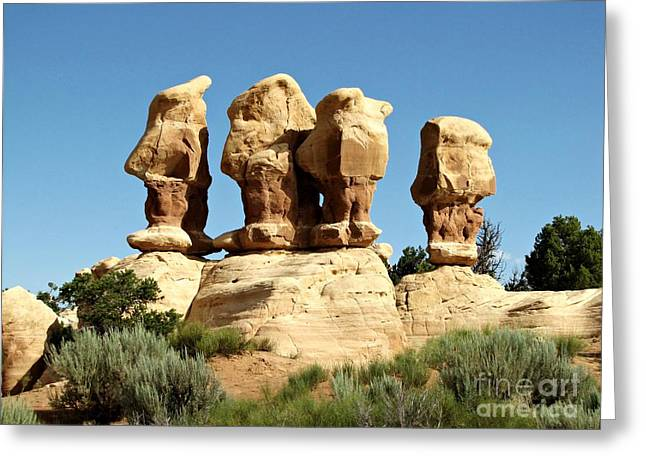 The Plateaus Greeting Cards - Devils Garden - Four Men Standing Greeting Card by Sheryl Young
