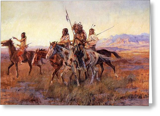 Four Mounted Indians Greeting Card by Charles Russell