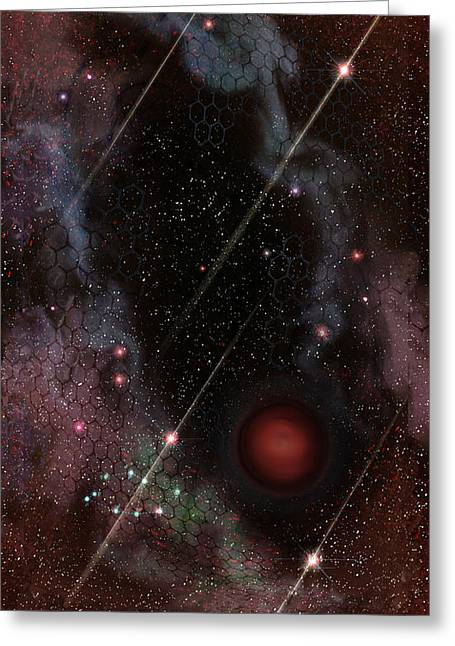 Janelle Schneider Greeting Cards - Four of Wands/Stars - Art from the Science Tarot Greeting Card by Janelle Schneider