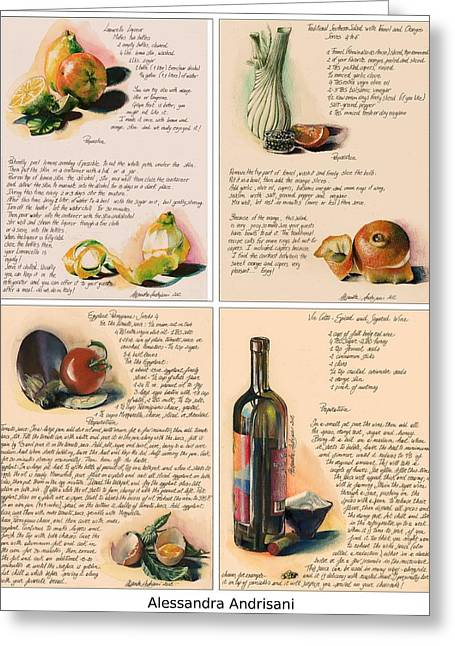 Italian Kitchen Greeting Cards - Four Painted Recipes Greeting Card by Alessandra Andrisani