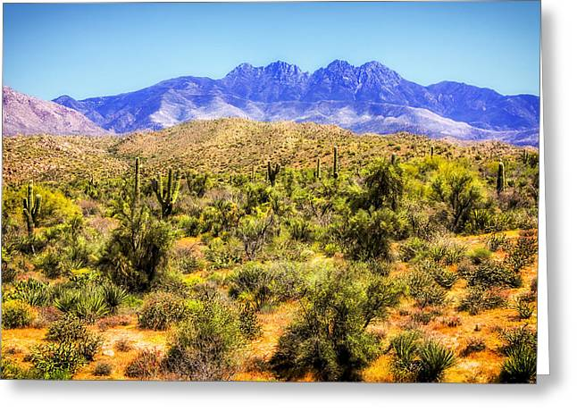 Outside Greeting Cards - Four Peaks Greeting Card by Fred Larson
