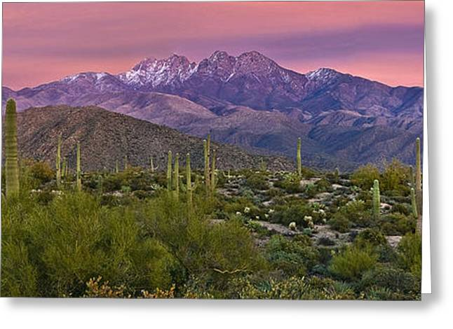 Best Sellers -  - Snow-covered Landscape Greeting Cards - Four Peaks Sunset Panorama Greeting Card by Dave Dilli