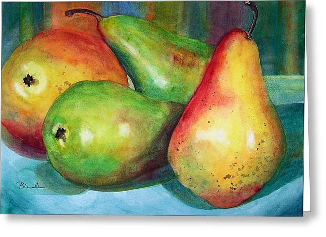 Four Pears Art Blenda Studio Greeting Card by Blenda Studio