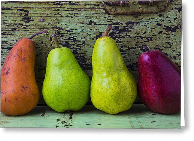 Painted Wood Greeting Cards - Four Pears Greeting Card by Garry Gay