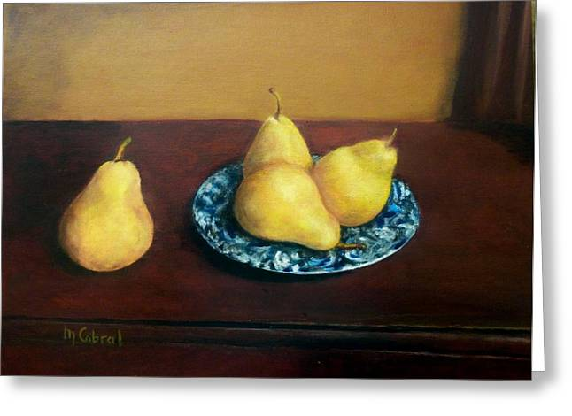 Interior Still Life Paintings Greeting Cards - Four Pears and a Plate Greeting Card by Maggie  Cabral