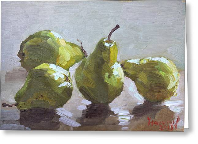 Pears Greeting Cards - Four Pears Greeting Card by Ylli Haruni