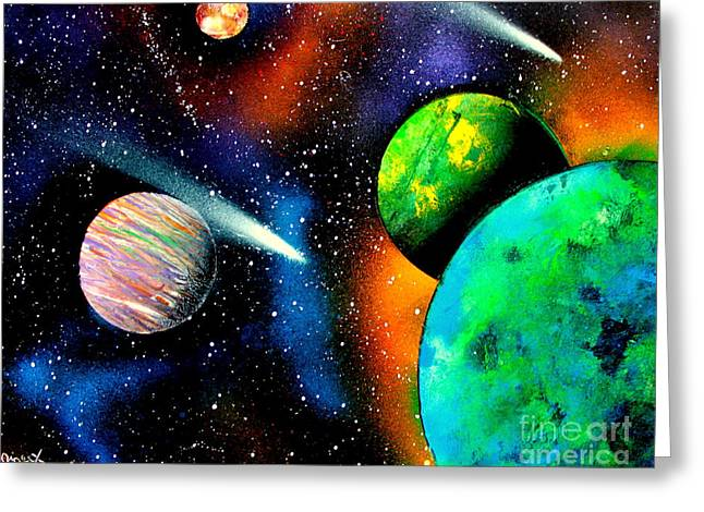 Outer Space Paintings Greeting Cards - Four Planets E Greeting Card by Greg Moores