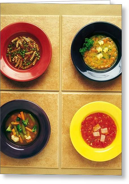 Bowl Of Food Greeting Cards - Four Plates Of Different Foods Greeting Card by Ron Nickel