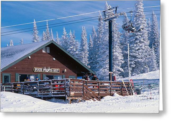 Ski Place Greeting Cards - Four Points Hut Greeting Card by Chris Selby