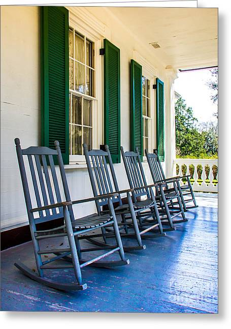 Rocking Chairs Digital Art Greeting Cards - Four Porch Rockers Greeting Card by Perry Webster