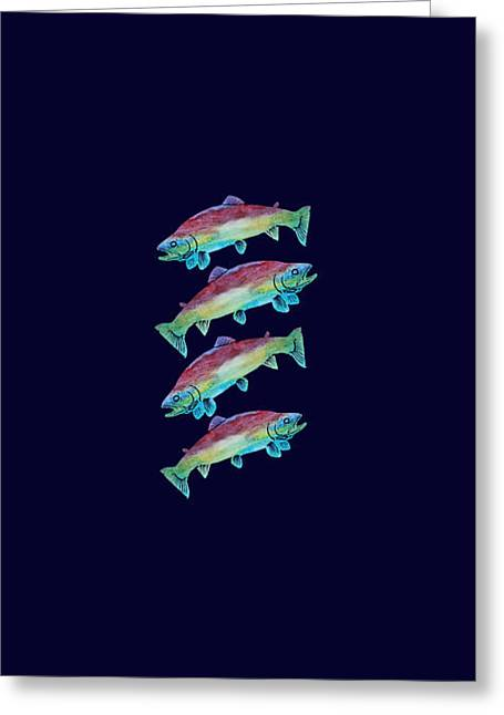 Four Rainbow Trout Greeting Card by Jenny Armitage