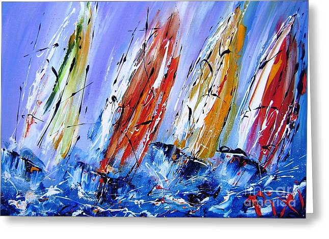 Recently Sold -  - Sailboat Art Greeting Cards - Four Sails To Four Winds Greeting Card by Mary Cahalan Lee