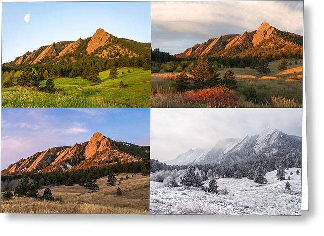 Longmont Greeting Cards - Four Seasons - The Flatirons Greeting Card by Aaron Spong