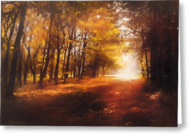 Seasons Greeting Cards - Four Seasons Autumn Impressions At Dawn Greeting Card by Georgiana Romanovna