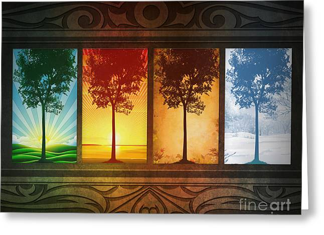 Heat Mixed Media Greeting Cards - Four Seasons Greeting Card by Bedros Awak