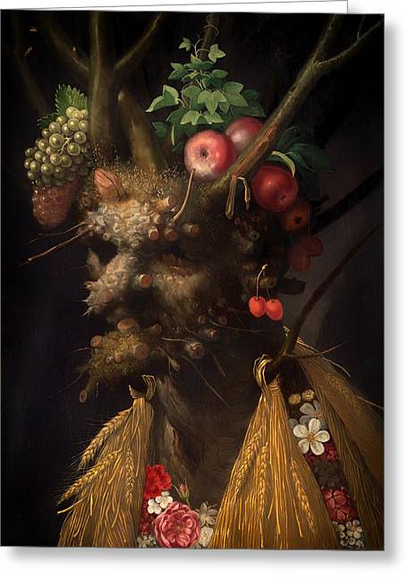 Fruit Tree Art Greeting Cards - Four Seasons in One Head Greeting Card by Giuseppe Archimboldo
