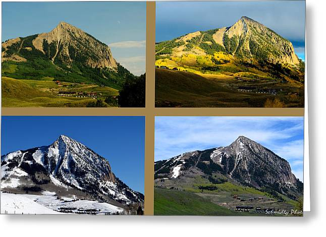 Mike Schmidt Photographs Greeting Cards - Four Seasons of Mt. Crested Butte Greeting Card by Mike Schmidt