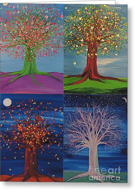 First Star Art Greeting Cards - Four Seasons Trees Greeting Card by First Star Art