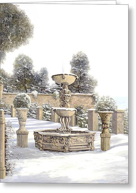 Four Seasons Greeting Cards - four seasons-winter on lake Como Greeting Card by Guido Borelli